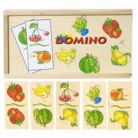 Drewniane domino z owocami