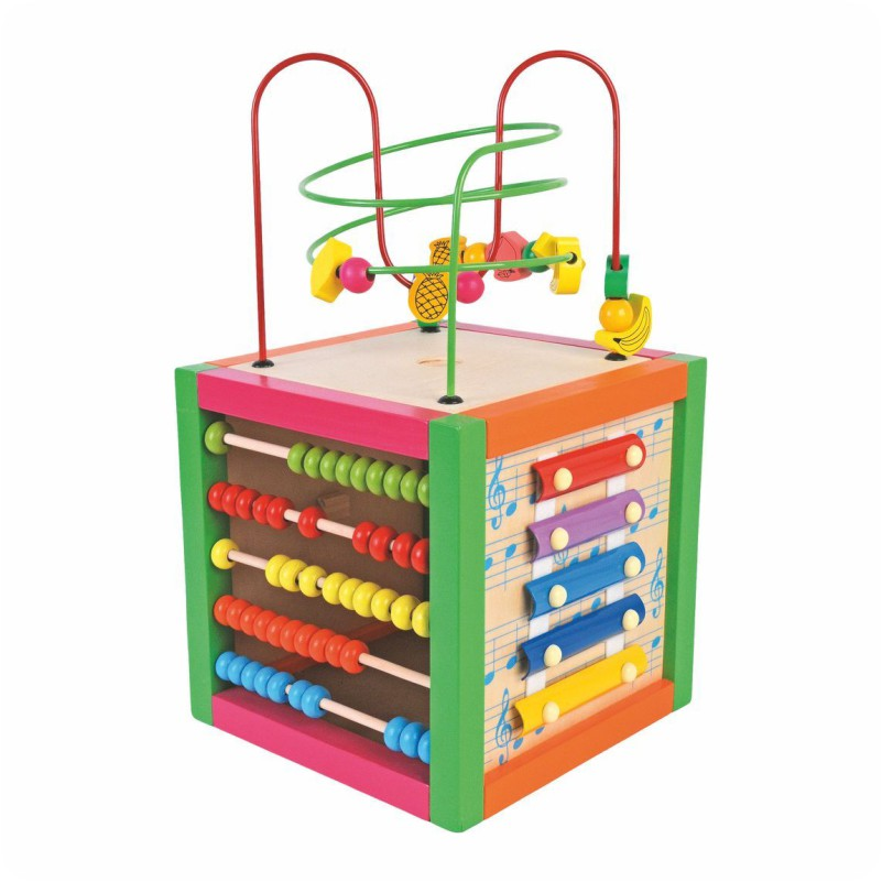 Drewniana kostka sześcian - zabawka edukacyjna